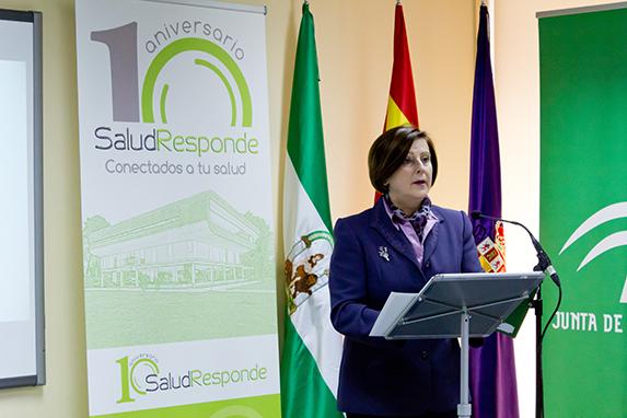 María José Sánchez Rubio, Consejera de Igualdad, Salud y Políticas Sociales, en un acto de la celebración del X Aniversario de Salud Responde.