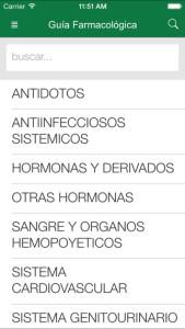 Captura pantalla App Guía Farmacológica iOS